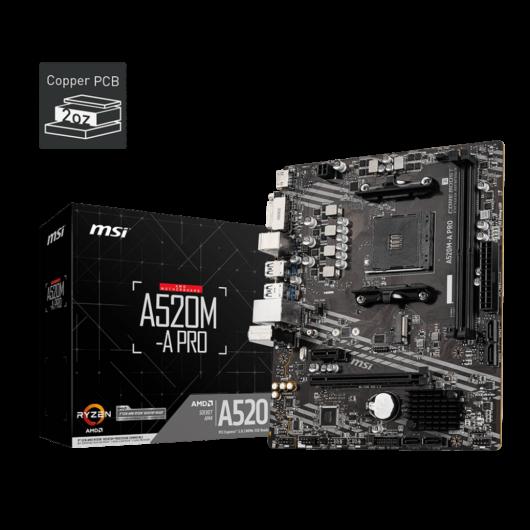 MSI A520M-A PRO AMD A520 Socket AM4 alaplap
